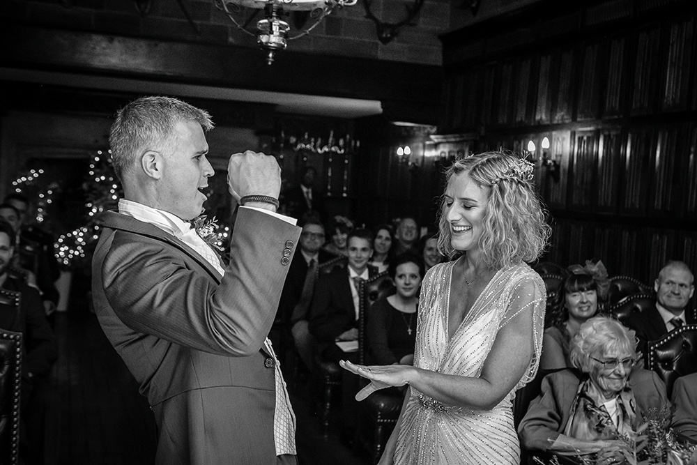 WEB - Highgate House Wedding - Baronial Hall - Wedding Ceremony Couple ##Photographer - Lee Glasgow##.jpg